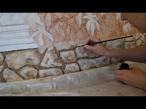 Имитация камня на стене своими руками из штукатурки 8