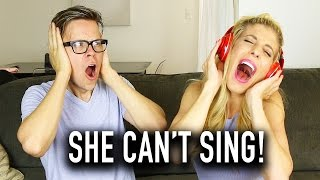 SINGING WITH NOISE CANCELLING HEADPHONES CHALLENGE W/ REBECCA ZAMOLO - (DAY 133)