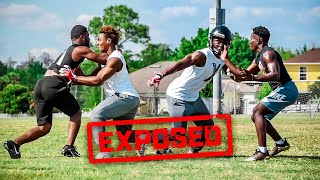 CALLED OUT AND EXPOSED BY 14 YEAR OLDS.. (DB vs WR 1on1s AGAINST 4 STAR HS FRESHMEN)