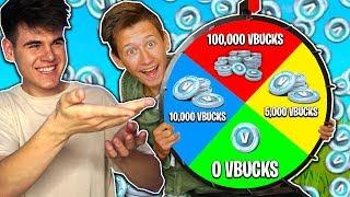 Spin The MYSTERY VBUCKS WHEEL CHALLENGE in Fortnite (1 Spin = Free Vbucks)
