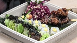 Japanese Chicken Katsu and Sushi. Street Food of London Old Spitalfields Market