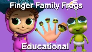 The Finger Family with the 5 Little Speckled Frogs (Learn Numbers) | Educational | Nursery Rhymes