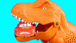 Disney Pixar Cars Lightning McQueen & Mater With Matchbox On A Mission Dino Trapper Trailer