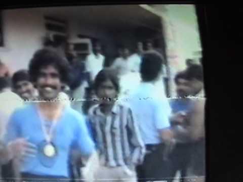 Ashok Kamte in white t shirt stripe on shoulders at Jaipur Indian Powerlifting Championship 1986