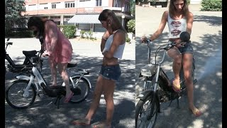 Miss Vicky and Miss Black Mamba playing with mopeds | Trailer Pedal Pumping