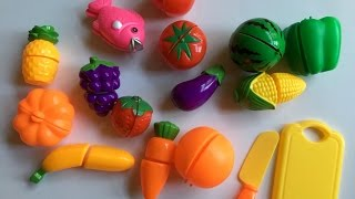 Learn Names of Fruits and Vegetables for children with Velcro cutting food Toys
