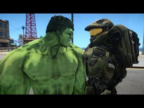 Halo Master Chief vs HULK EPIC BATTLE
