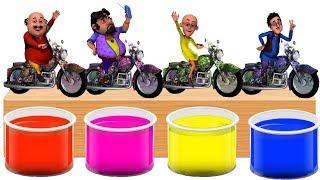Bathing Colors Fun l Motu Patlu Ghasitaram John The Don Driver Motor Cycle l Shower Colors for Kids