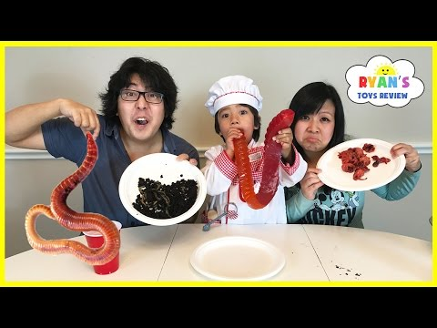 Gummy Food vs Real Food challenge Parent Edition Giant Gummy Worm Gross Real Food Candy Challenge
