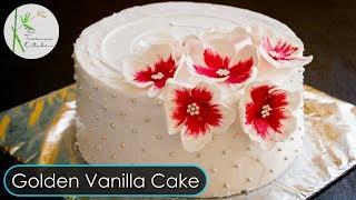 Eggless Golden Vanilla Cake without Oven | Fondant Flowers | Xmas Cake Recipe ~ The Terrace Kitchen
