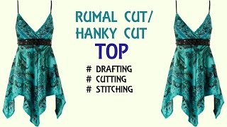Rumal cut/ hanky cut designer top for girls | drafting, cutting and stitching step by step tutorial