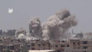 تجدد الغارات الجوية من الطيران الروسي على أحياء درعا البلد في مدينة درعا