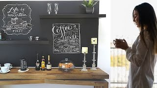 DIY Home Coffee Bar-REDESIGN A BORING WALL-Beginner Level