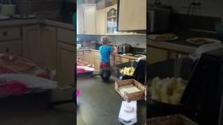Peanut butter spread 8 year old boy kitchen fun