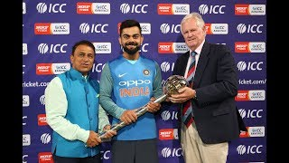 India are presented the ICC Test Championship Mace
