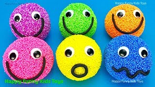 Learn Colors Play Foam Balls Smiley Face Surprise Toys Kinder Eggs Disney Pixar Cars Barbie Trolls