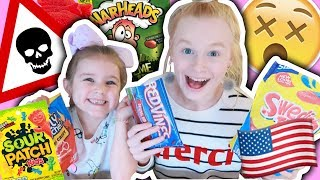 BRITISH KIDS TRY AMERICAN CANDY TASTE TEST!! 😋🍭🍬