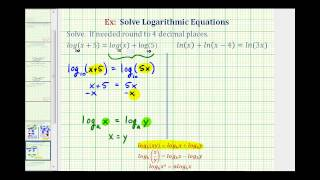 Ex:  Solve Logarithmic Equations Containing Only Logarithms