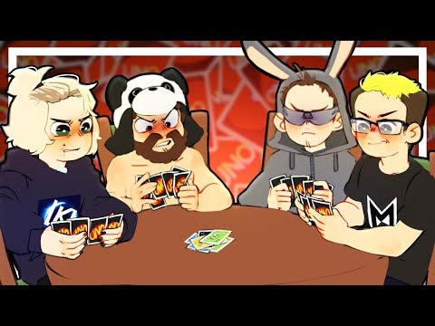 4 grown men get way too excited over a card game UNO