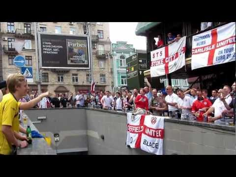 English Fans vs Swedish fans (Euro-2012, Kiev, Lucky Pub)