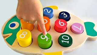 Kids Learning Colors and Numbers, Count to 10 Wood Toys