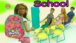 Barbies Go To School with Mini Shopkins Backpacks - Teacher Opens Season 5 Packs with Blind Bags