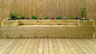 Softwood decking & raised bed - bench