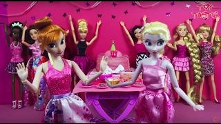 Frozen Elsa birthday party + Anna Birthday party! Full English mini movies ft Disney Princess Dolls!