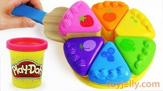 How to Make Play Doh Color Fruits Cake Velcro Cutting Toy with Microwave Oven Toy Appliance For Kids