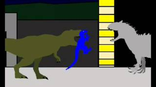Jurassic World - Indominus rex vs T rex and blue