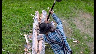 Splitting birchwood for firewood and carpentry by hand and hydraulics (log splitter)