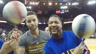 Steph Curry Gets SCHOOLED to Spin Basketball By The Harlem Globetrotters, Hits Tunnel Shots