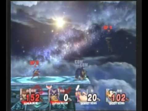 Super Smash Bros Brawl Snake & C.Falcon VS Donkey Kong & Diddy Kong