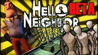 BEATING THE NEW SUPERMARKET + FLYING NEIGHBOR AND MEGA GLITCHES | Hello Neighbor Beta