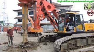 Deep Foundation Drilling By Sany SR150C And Hitachi Zaxis Excavator