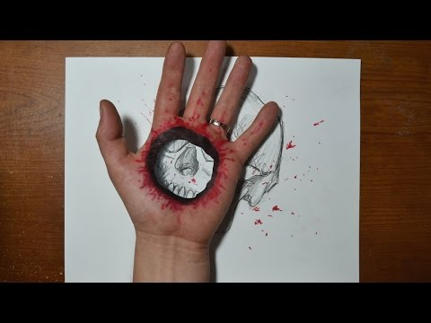 Cool 3D Trick Art Bullet Hole in Hand