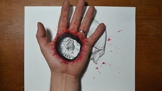 Cool 3D Trick Art - Bullet Hole in Hand