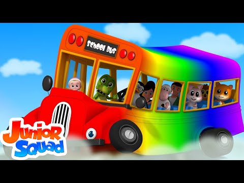 Rainbow Wheels On The Bus | Nursery Rhymes Song For Children | Bus Song | Kids Rhyme By Junior Squad