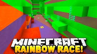 Minecraft - RAINBOW PARKOUR RACE! - w/ Preston, Woofless, Choco & Kenny