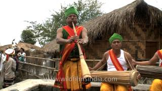 Dimasa - Kachari musicians playing Muri flute and Khram drums!