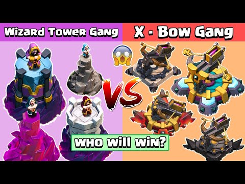 4x Max Wizard Tower VS 4x Max X Bow Vs All Troops Clash of Clans