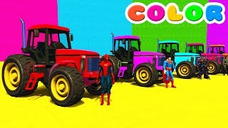 Learn Color Tractors Cars For Kids w Spiderman Superhero Cartoon Full Episodes In English 2017