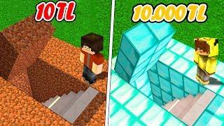 10 TL GİZLİ GEÇİT VS 10.000 TL GİZLİ GEÇİT! 😱 - Minecraft