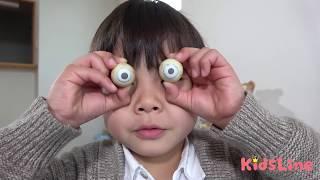 目が取れたー!!お遊戯 まとめ動画 こうくんねみちゃん eye pops out!!!
