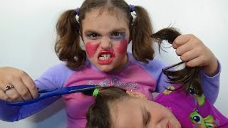 "Bad Baby Victoria Cut Annabelle Hair ""Make Up Fail"" Toy Freaks"
