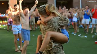 You're back! Watch girlfriend jump into soldier's arms