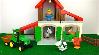 ECOIFFER ABRICK FARM PLAYSET BUILDING AND PLAY WITH JOHN DEERE FUN TRACTOR & ANIMALS COW HORSE GOAT
