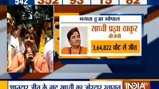 Sadhvi Pragya receives grand welcome at BJP office in Bhopal