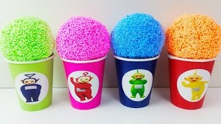 Learn Colors Play Foam Surprise Eggs Teletubbies Play Doh Ice Cream Cars 2 Candy Cups toys for Kids