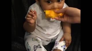 Shakib Al Hasan's baby girl Alayna having mango for the first time.